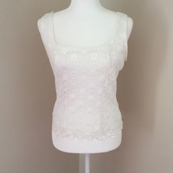 Dress Barn Tops - White lace top with silky lining underneath